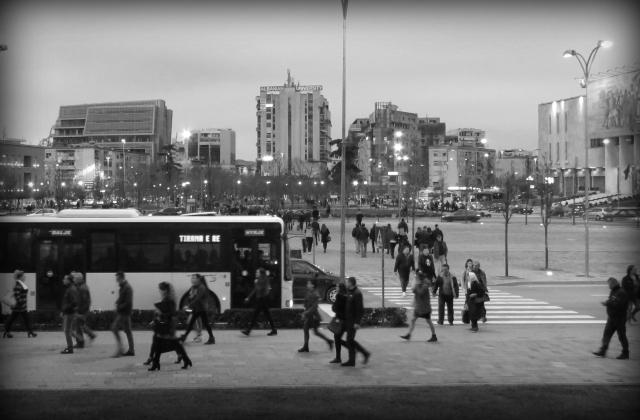 Downtown Tirana Albania in Black and White - by Anika Mikkelson - Miss Maps - www.MissMaps.com