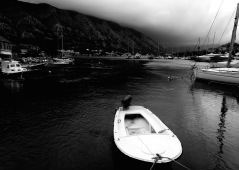 Kotor Bay in Black and White - by Anika Mikkelson - Miss Maps - www.MissMaps.com