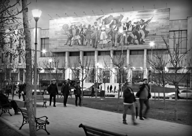 National History Museum - Tirana Albania in Black and White - by Anika Mikkelson - Miss Maps - www.MissMaps.com