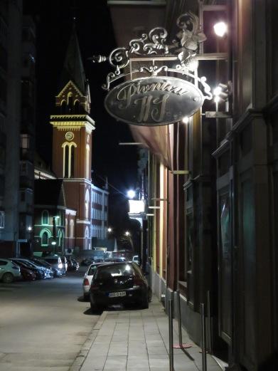 Pivnica HS at night - Saravejo, Bosnia and Herzegovina BiH - by Anika Mikkelson - Miss Maps - www.MissMaps.com