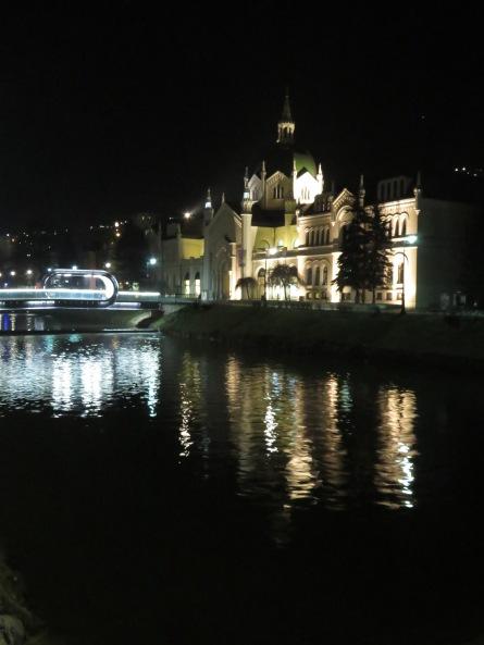 Sarajevo Art College at night - Saravejo, Bosnia and Herzegovina BiH - by Anika Mikkelson - Miss Maps - www.MissMaps.com