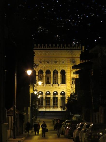 Sarajevo's City Hall at night - Saravejo, Bosnia and Herzegovina BiH - by Anika Mikkelson - Miss Maps - www.MissMaps.com