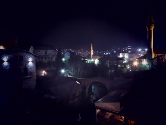 Stari Most and Mosques at Night - Mostar, Bosnia and Herzegovina - by Anika Mikkelson - Miss Maps - www.MissMaps.com