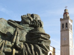 Statue outside St Stephen's Catholic Cathedral - Shkoder Albania - by Anika Mikkelson - Miss Maps - www.MissMaps.com
