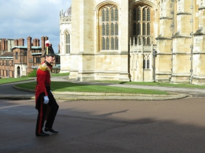 A guard walks to St. George's Cathedral at Windsor Palace - Windsor, London, UK - by Anika Mikkelson - Miss Maps - www.MissMaps
