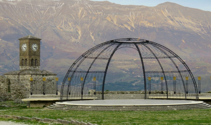 Atop Gjirokaster's Fortress - the main stage - Gjirokaster Albania - by Anika Mikkelson - Miss Maps - www.MissMaps.com