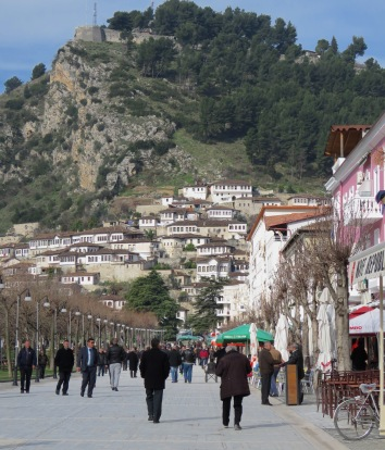 Central Pedestrian Street of Berat Albania, Moments Before I spotted the man in blue - by Anika Mikkelson - Miss Maps - www.MissMaps.com