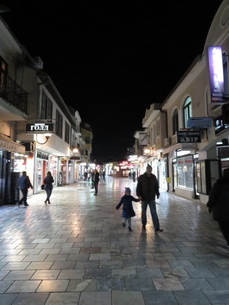 Downtown Ohrid at Night - Ohrid Macedonia - by Anika Mikkelson - Miss Maps - www.MissMaps.com