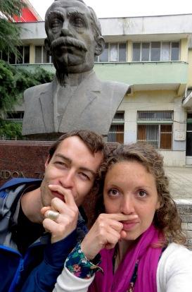 Nailed it - Statue Selfies - Gjirokaster Albania - by Anika Mikkelson - Miss Maps - www.MissMaps.com