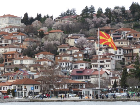 Ohrid's Hillside and Macedonia's Flag - Ohrid Macedonia - by Anika Mikkelson - Miss Maps - www.MissMaps.com