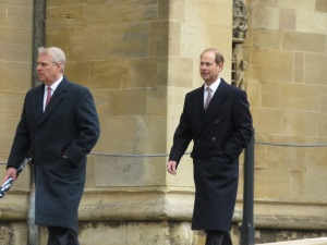 Prince Andrew and Prince Edward arrive at St. George's Chapel at Windsor Castle - Windsor, London, UK - Easter Sunday 2016 - by Anika Mikkelson - Miss Maps - www.MissMaps.com