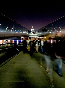 St. Paul's Cathedral and Pedestrians on the Millennium Bridge - London, England, United Kingdom - by Anika Mikkelson - Miss Maps