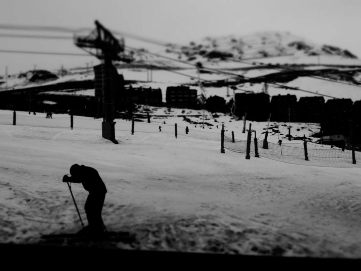Black and White Skiier - Andorra - by Anika Mikkelson - Miss Maps - www.MissMaps.com