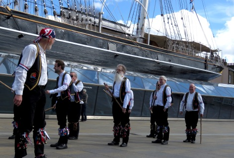 Blackheath Morris Men ready to perform at Cutty Shark Ship in Greenwich London UK - by Anika Mikkelson - Miss Maps
