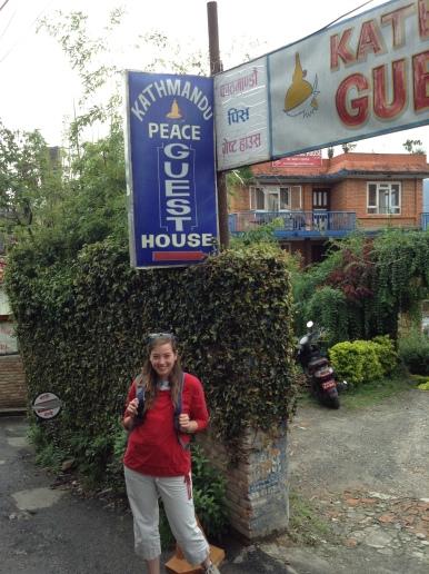 Brianna outside her guesthouse in Kathmandu, Nepal - MissMaps.com Featured Female Traveler