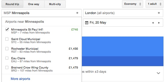 Nearby Airport Options Example - Miss Maps - www.MissMaps.com