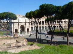 Outside the Colosseum of Rome Italy - by Anika Mikkelson - Miss Maps - www.MissMaps.com