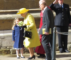 Queen Elizabeth and Prince Philip exit Easter Church Service with her newly gifted flowers - Windsor, London, UK - by Anika Mikkelson - Miss Maps
