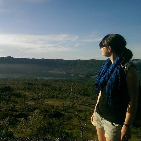 Rachel at Batur Volcano in Bali - Rachel of The Imagination Trail - Miss Maps Featured Female Traveler