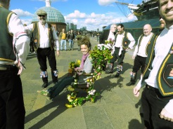 Ready to go! On the throne of the Blackheath Morris Men and Cutty Shark Ship in Greenwich London UK - by Anika Mikkelson - Miss Maps