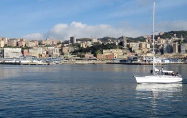 Sailing into Genoa, Italy - by Anika Mikkelson - Miss Maps - www.MissMaps.com