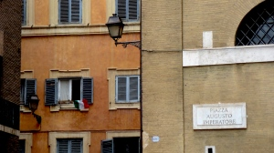 The Italian Flag Flies in Rome Italy - by Anika Mikkelson - Miss Maps - www.MissMaps.com