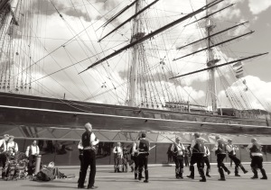 The Whole Crew - Blackheath Morris Men and Cutty Shark Ship in Greenwich London UK - by Anika Mikkelson - Miss Maps