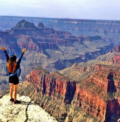 """""""Standing on the edge of the Grand Canyon in Arizona is something hard to forget!"""" by Vivian @littlemisshappyfeet - MissMaps.com Featured Female Traveler"""