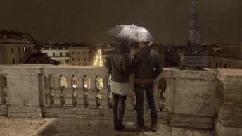 Wind and Rain and a Couple in Love Steps in Rome Italy - by Anika Mikkelson - Miss Maps - www.MissMaps.com