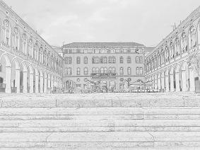 A drawing of Plaza de la Republica - Split Croatia - by Anika Mikkelson - Miss Maps - www.MissMaps.com