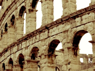 Close-up of the Ampitheater of Pula Croatia - by Anika Mikkelson - Miss Maps - www.MissMaps.com