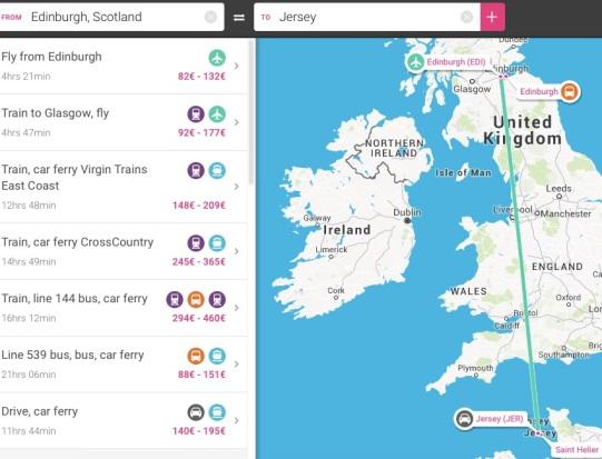 Edinburgh to Jersey Step 2 - MissMaps.com
