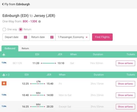 Edinburgh to Jersey Step 5 - MissMaps.com