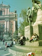 Enjoying a sunny day in the main square of Ljubljana Slovania - by Anika Mikkelson - Miss Maps - www.MissMaps.com