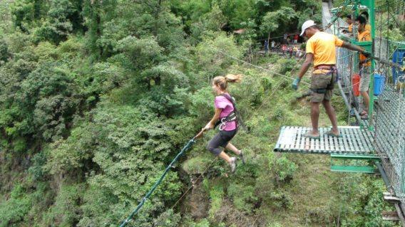 Erica Hobbs Bungee jumping on her 28th birthday in Nepal - MissMaps.com Featured Female Traveler