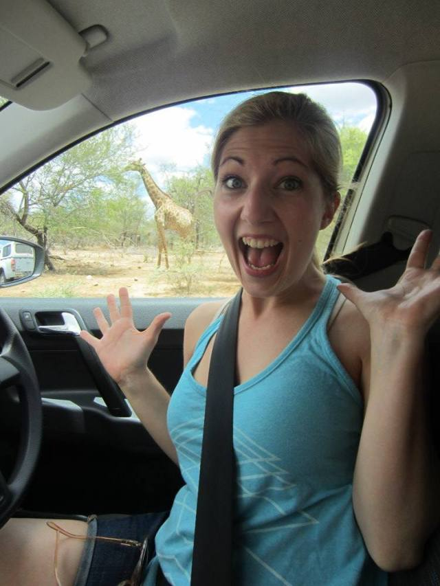 Erica Hobbs seeing giraffes on safari at Kruger National Park in South Africa - MissMaps.com Featured Female Traveler