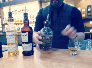 Getting a perfect pour at Dewar's Scotch Distillery Scotland - by Anika Mikkelson - Miss Maps - www.MissMaps.com