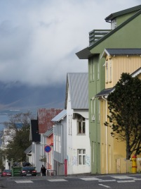 Green and Yellow Homes - Reykjavik Iceland - by Anika Mikkelson - Miss Maps - www.MissMaps.com