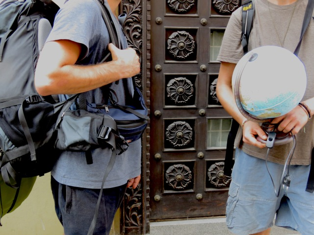 In Prague, I found two backpackers wandering with a lightup globe. They said it helped them choose their next destination - by Anika Mikkelson - Miss Maps - www.MissMaps.com