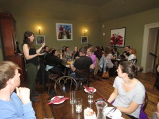 Our whole group at dinner - Shamrocker Adventure Tours - Ennis Ireland - by Anika Mikkelson - Miss Maps - www.MissMaps.com