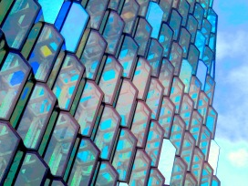 Over Saturated Close up of Harpa - Reykjavik Iceland - by Anika Mikkelson - Miss Maps - www.MissMaps.com