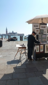 Paintings on the Promenade of Venice Italy - by Anika Mikkelson - Miss Maps - www.MissMaps.com
