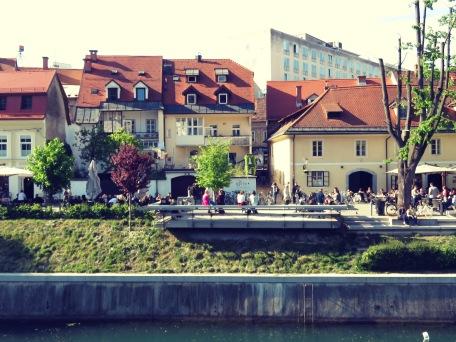 Riverside cafes of Ljubljana Slovenia - by Anika Mikkelson - Miss Maps - www.MissMaps.com