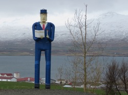 Statue of the Blue Man - Akureyri - Northern Iceland - by Anika Mikkelson - Miss Maps - www.MissMaps.com