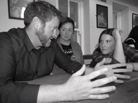 Telling a funny joke - really it was funny - Shamrocker Tours to Ennis Ireland - by Anika Mikkelson - Miss Maps - www.MissMaps.com