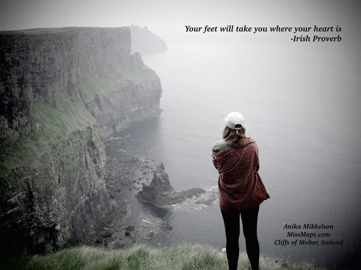 This photo gives me empowered energy -The Cliffs of Moher - Ireland - by Anika Mikkelson - Miss Maps - www.MissMaps.com