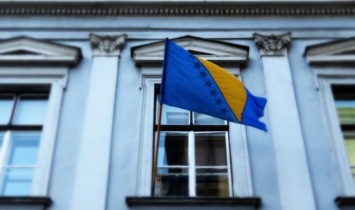 Bosnia and Herzegovina Flag - Sarajevo BiH - by Anika Mikkelson - Miss Maps - www.MissMaps.com