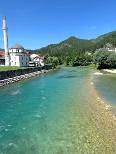 Neretva River and Mosque -Konjic Bosnia and Herzegovina - by Anika Mikkelson - Miss Maps - www.MissMaps.com