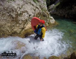 That's me - Miss Maps Canyoning on Rakitnica River - Bosnia and Herzegovina BiH - photo by VisitKonjic.com