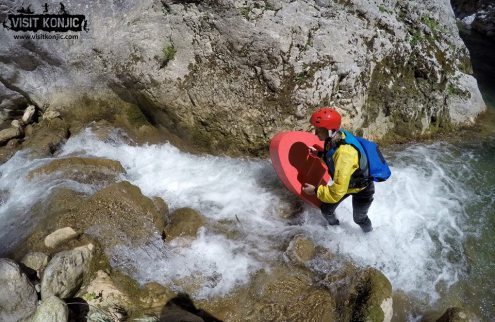 Veronika's Adventure walks on water while Canyoning on Rakitnica River - Bosnia and Herzegovina BiH - photo by VisitKonjic.com